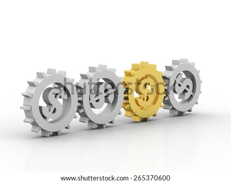 gears with a gold dollar sign - stock photo