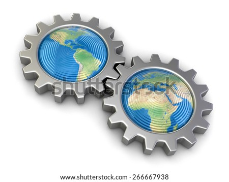 Gears with America and Europe (clipping path included) Elements of this image furnished by NASA - stock photo