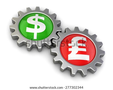 Gears with Dollar and Pound - stock photo