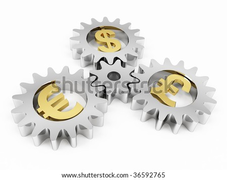 Gears with dollar, pound and euro signs. 3d rendering - stock photo