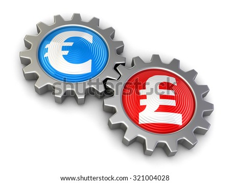 Gears with euro and Pound (clipping path included) - stock photo