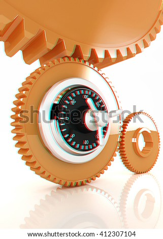 gears with lock. 3D illustration. Anaglyph. View with red/cyan glasses to see in 3D. - stock photo