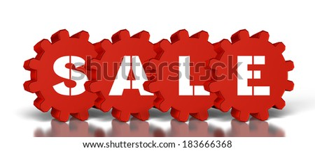 gears with sale text, Isolated on a white background