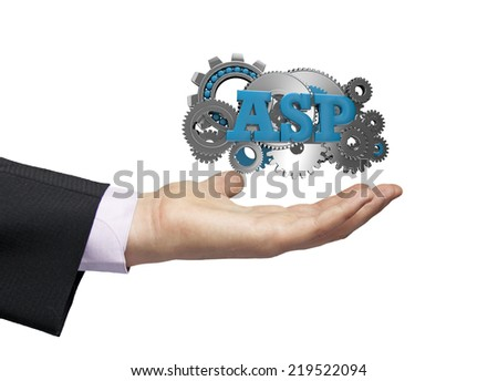 gears with text asp over a businessman hand - stock photo