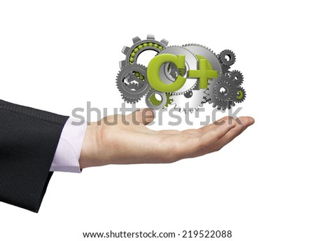 gears with text c+ over a businessman hand - stock photo
