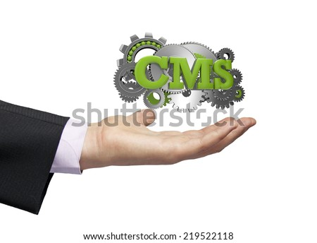 gears with text cms over a businessman hand - stock photo
