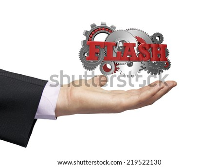 gears with text flash over a businessman hand - stock photo