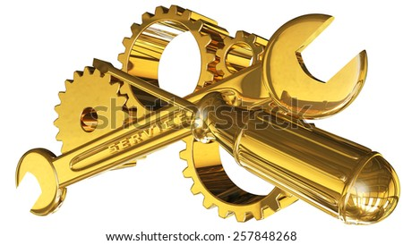 gears wrench screwdriver and gold 3d rendered with clipping path - stock photo