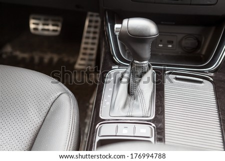 Gearshift lever of automatic gearbox. Car interior - stock photo