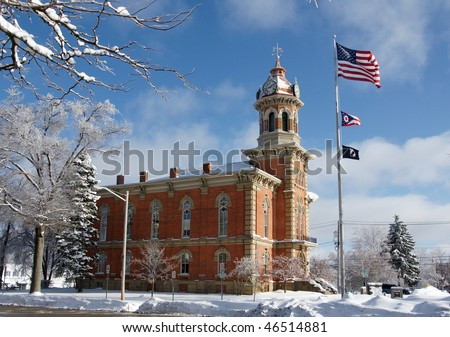 Geauga county courthouse in the winter - stock photo