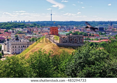 Gediminas Tower on the hill and Grand Dukes Lower Castle, Vilnius of Lithuania. Gediminas Tower is also called as Upper Castle. Lithuania is one of the Baltic countries in the Eastern Europe.