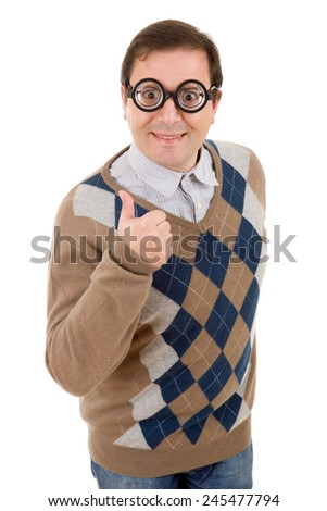 geek man going thumbs up, isolated on white - stock photo