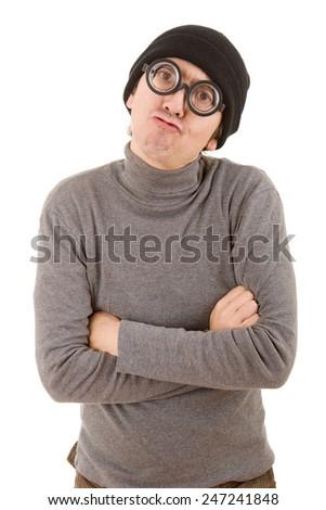 geek man isolated on white background - stock photo