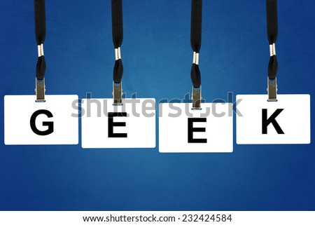 geek word on badge with blue background - stock photo