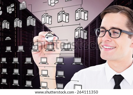 Geeky businessman writing with marker against cloud computing doodle - stock photo