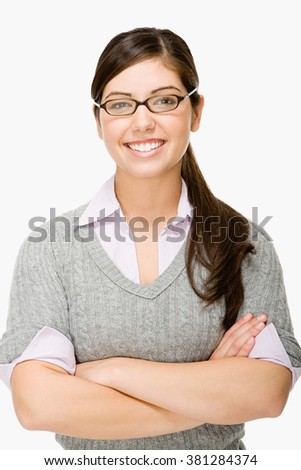 Geeky girl - stock photo