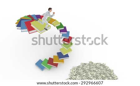 Geeky happy businessman running mid air against steps made out of books
