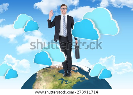 Geeky hipster businessman waving at camera against two blue clouds for cloud computing - stock photo
