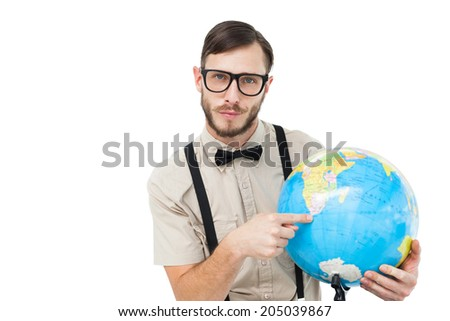 Geeky hipster holding a globe on white background