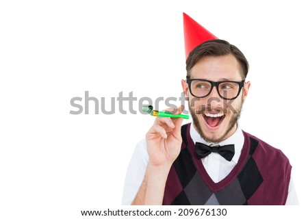Geeky hipster in party hat with horn on white background - stock photo
