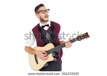 Geeky hipster playing guitar and singing on white background - stock photo