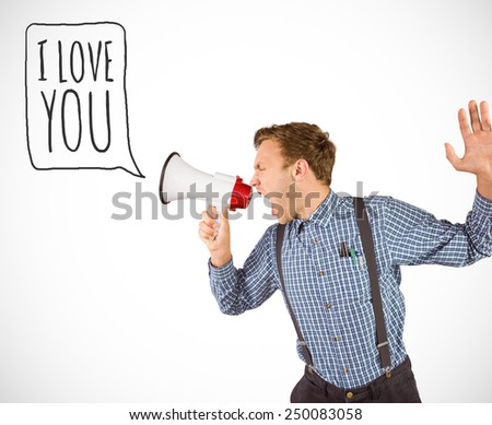 Geeky hipster shouting through megaphone against white background with vignette - stock photo