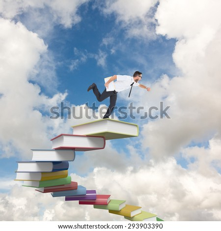 Geeky young businessman running late against blue sky with white clouds - stock photo