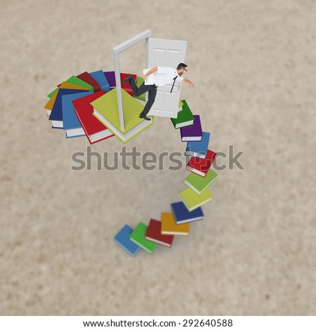 Geeky young businessman running late against path - stock photo