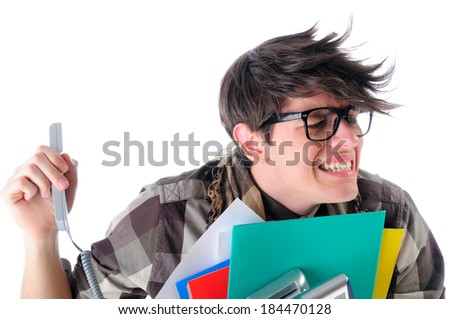 Geeky young office worker being yelled at by the boss from the telephone, isolated on white - stock photo