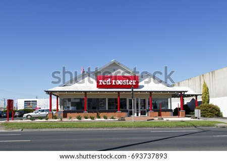 Geelong, Australia: April 03, 2017: Red Rooster is an Australian and New Zealand fast food restaurant chain founded in 1972 that specializing in roast chicken.