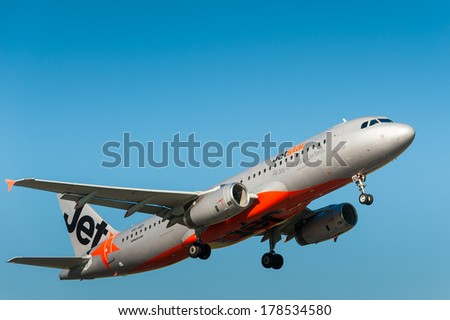GEELONG, VICTORIA/AUSTRALIA, MARCH 7TH: Image of a Jetstar passenger airliner taking off from Avalon Airport on 7th March, 2011 in Geelong.