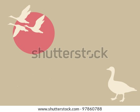 geese on brown background - stock photo