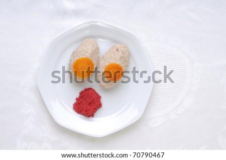 Gefilte fish with Horseradish,tradition Jewish food for?passover and Rosh Hashana, - stock photo