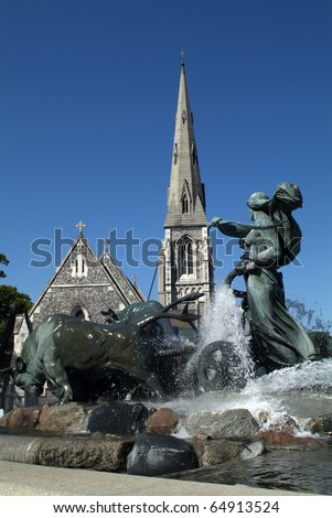 Gefion Brunnen in front of St. Alban Kirche in Copenhagen