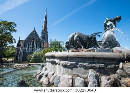 Gefion fountain - Copenhagen, Denmark - stock photo