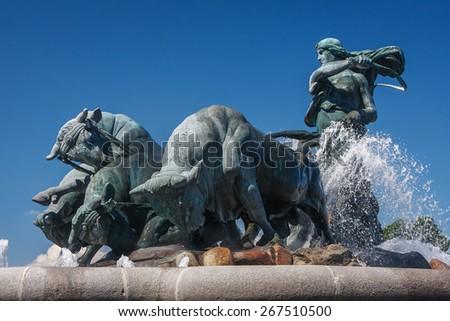 Gefion fountain in Copenhagen, Denmark - stock photo