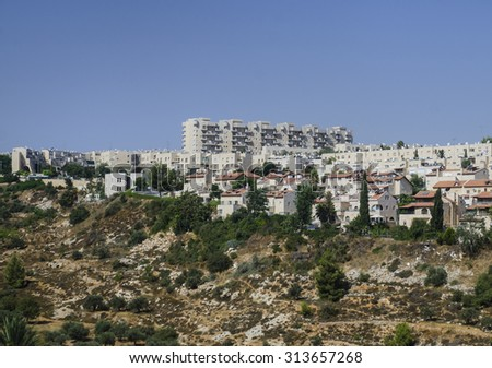Gehenna Hinnom Valley and residential buildings in Old part of Jerusalem. Hell mouth or hellfire place in religious manuscripts, Bible and Tora
