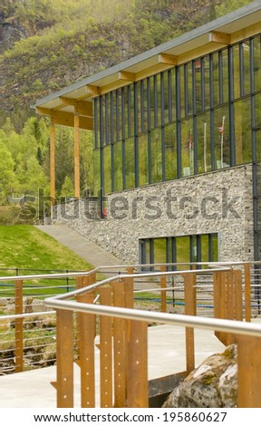 Geiranger fjord center is a modern building located at the end of the new waterfall pathway.