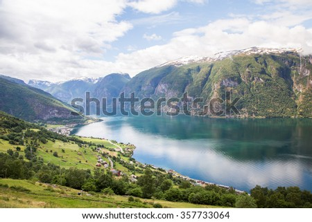 Geiranger fjord, Norway on cloudy day