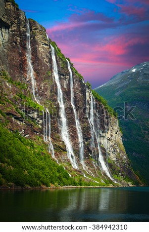 Geiranger fjord, Norway - waterfalls Seven Sisters. - stock photo