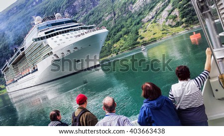Geiranger fjord with cruise in Norway - stock photo