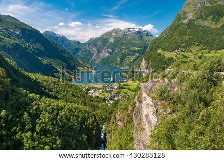 Geirangerfjord is the most famous natural landmark in Norway. UNESCO heritage site - stock photo
