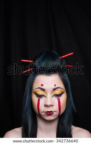 geisha girl portrait make up