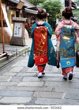 geisha girls shot from the back - stock photo