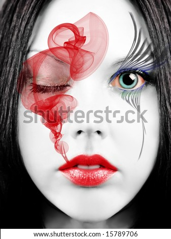 Geisha makeup - stock photo