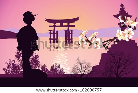Geisha mountains in the background and the Japanese gate