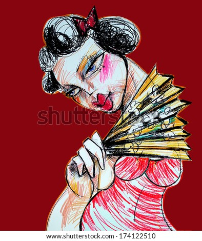 Geisha with a fan , illustration, abstract - stock photo