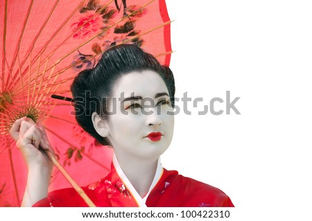Geisha with red umbrella isolated on white