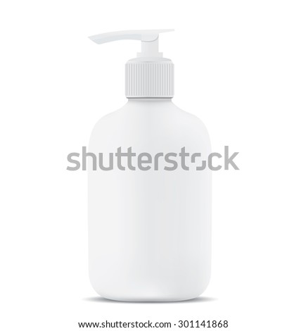 Gel, Foam Or Liquid Soap Dispenser Pump Plastic Bottle White.  - stock photo