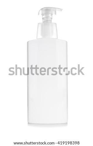 Gel, Foam Or Liquid Soap Dispenser Pump Plastic Bottle White - stock photo